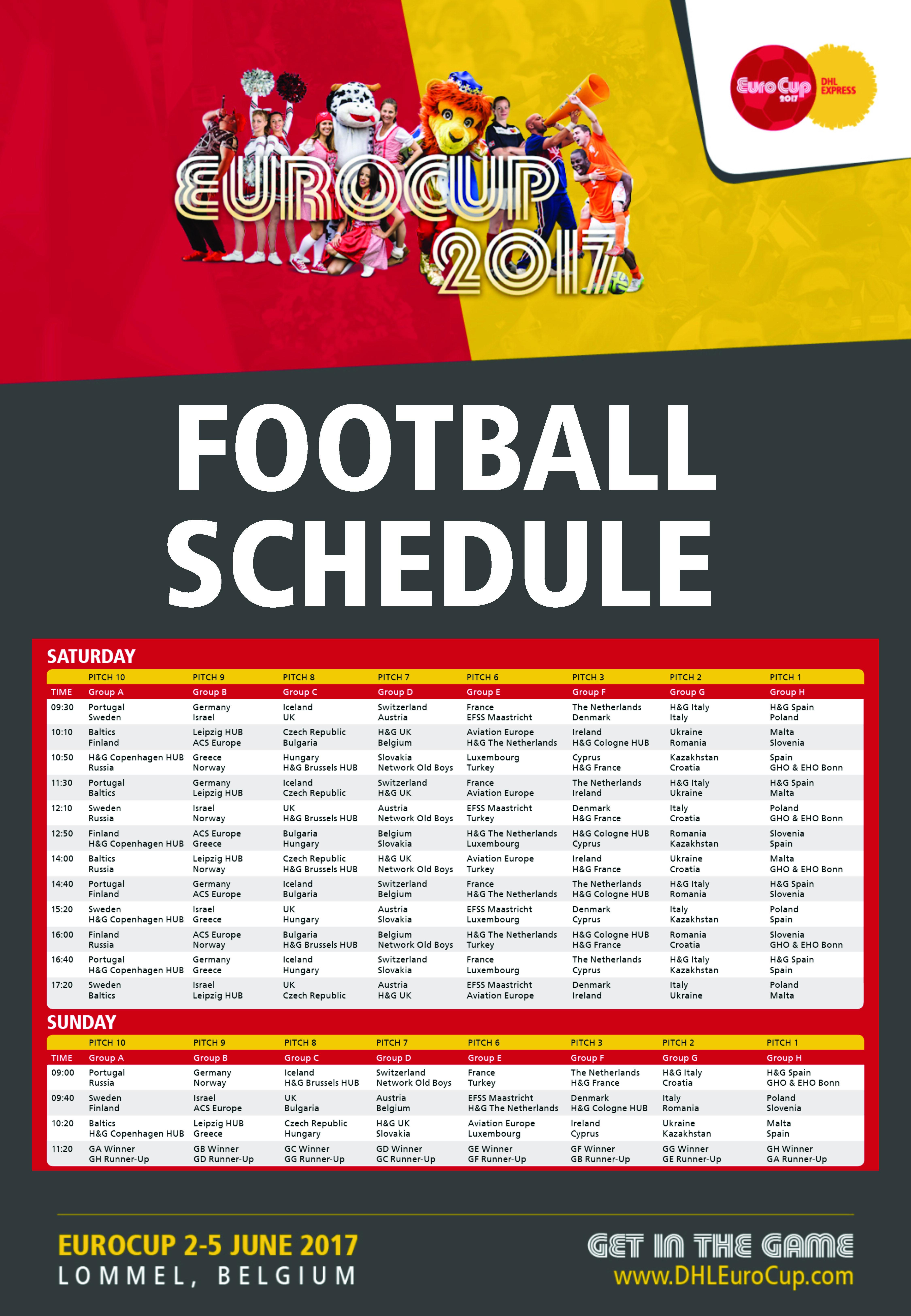 EuroCup 2017 Football Schedule
