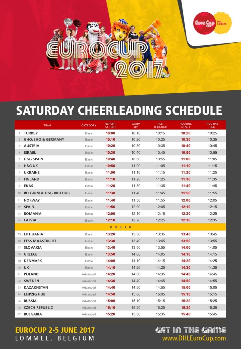 Cheerleading Schedule