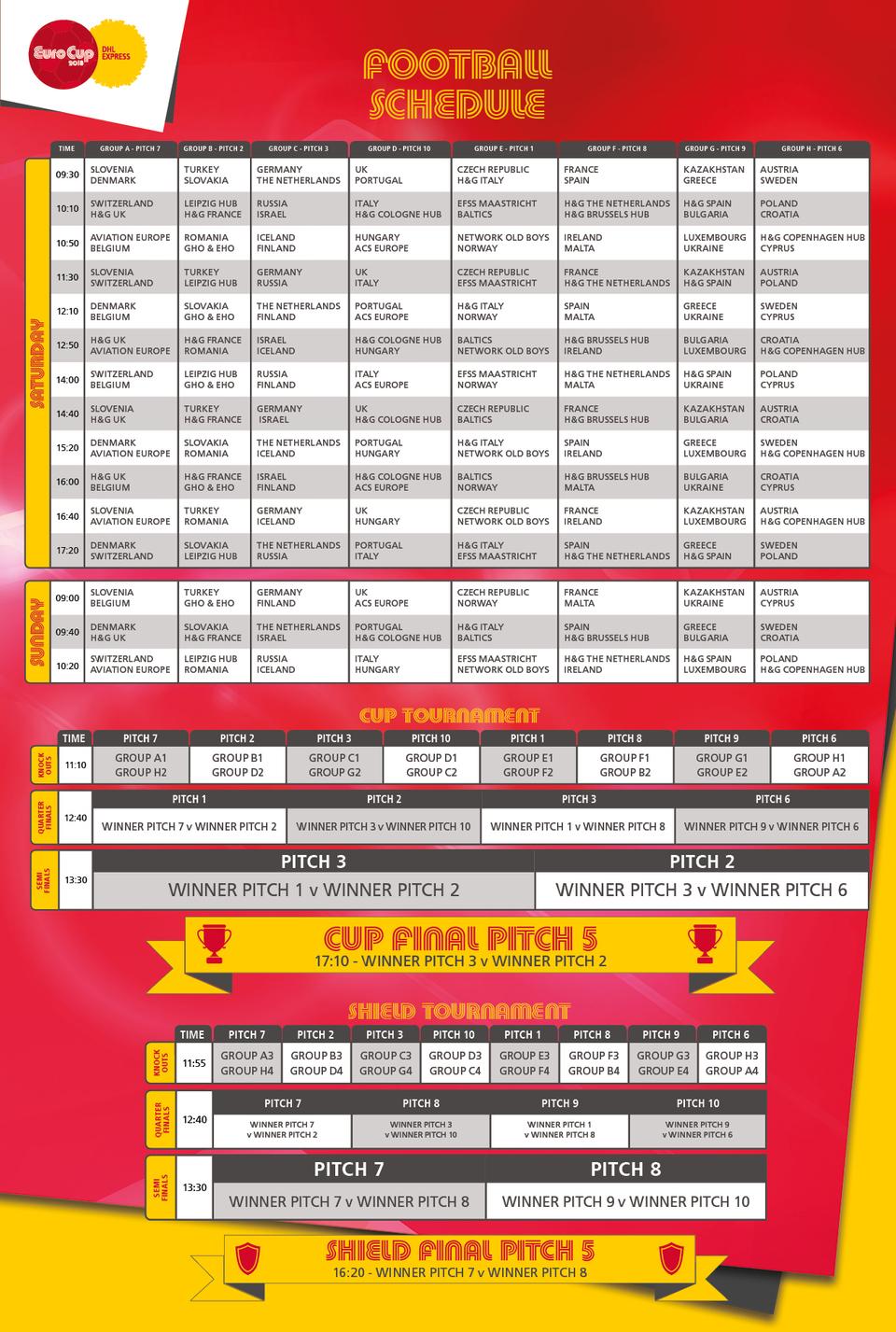 EuroCup Football Schedule 2018